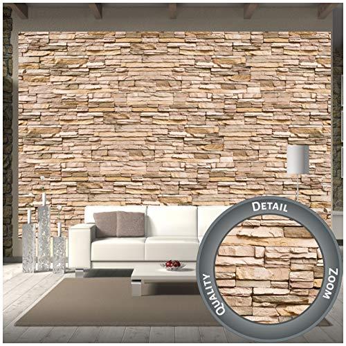 GREAT ART Fototapete – Steinoptik – 3D Wandbild Dekoration Stein-Tapete Mauer Wandverkleidung Steinwand Schiefer Sandstein Steinmauer Stonewall Wandtapete (336 x 238cm)