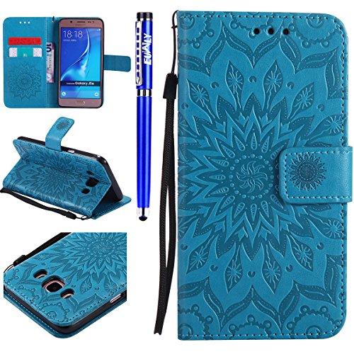 FESELE Kompatibel mit Galaxy J5 2016 Leder Handy Hülle, Sonnenblume Mandala Blumen Muster Flip Hülle Wallet Hülle Flip Schutzhülle Brieftasche Hülle Klapphülle mit Kartenfach,Blau