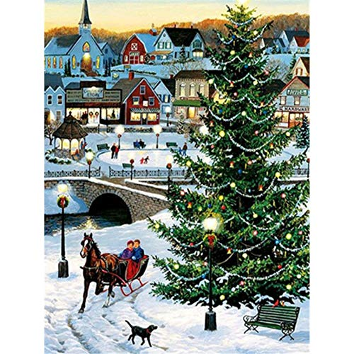 Diamond Painting Art for Adults Colorful Rainstone Dots Beads Kits Christmas Tree 11.8x15.7 in by BOYIsy