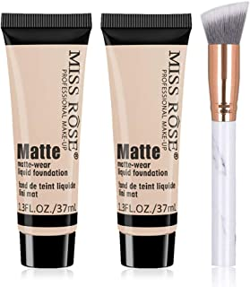 2 PCS Miss Rose Matte Face Liquid Foundation, Matte Wear Concealer Makeup Foundation Cream Waterproof Long Lasting Foundation with an Angled Foundation Brush (Beige 3)