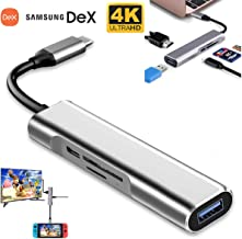 USB Hub Dock Adapter for Apple iPad Pro 2018, USB Type C to HDMI 4K USB SD/TF Card Reader and PD Charging Ports,Compatible with Samsung DeX Galaxy/Nintendo Switch/MacBook/MacBook Prorts/Dex Station