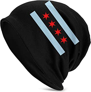Jiafour Chicago Flag Logo Unisex Winter Knitting Stretchy Warm Hat Daily Slouchy Hats Beanie Skull Cap