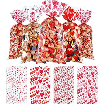 Blulu 100 Pieces Plastic Valentines Party Treat Bags Cupid s Arrow Print Pattern Cellophane Goodie Candy Gift Bags with 200 Pieces Gold and Red Twist Ties for Valentines Theme Party Decorations