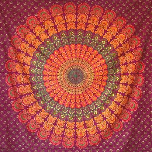 momomus Arazzo Mandala - Hippie - 100% Cotone, Grande, Multiuso - Telo Arredo Copridivano/Copritutto - Copriletto Matrimoniale - Gran Foulard per Divano - Arancia, 210x230 cm