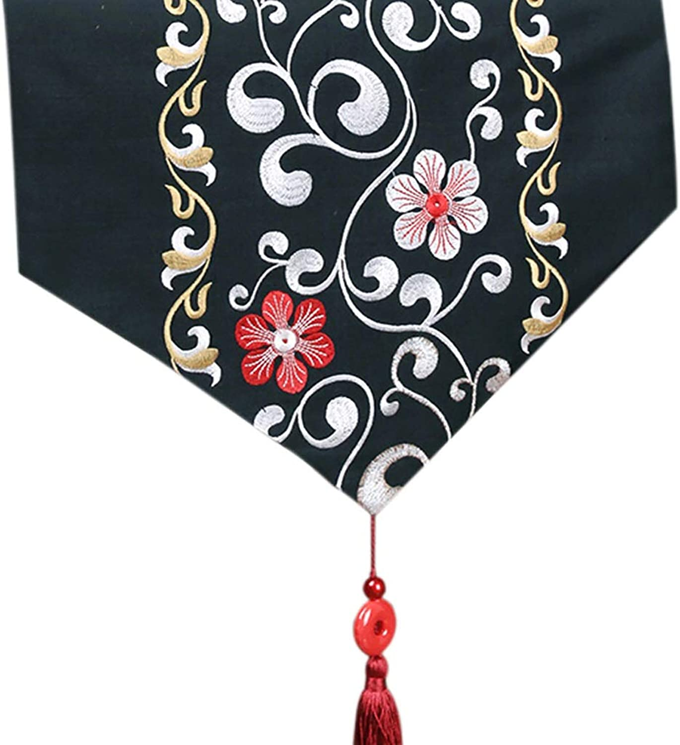DF Black Table Runners for Family Dinners, Gatherings, Parties, Wedding, Everyday Use (Size   34×240cm) (Size   34×260cm)