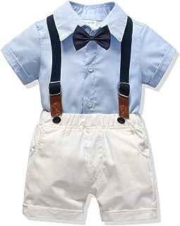 Little Boys Gentleman Outfit Suits,Baby Boys Short Pants Set,Short Sleeve Shirt+Suspender Pants+Bow Tie 4Pcs