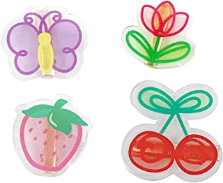 Acrylic Hair Clip Pins, 4 Pcs KASTWAVE Fruit Hair Barrettes Headdresses, Butterfly Flower Cherry Strawberry Hairpin, Fashi...