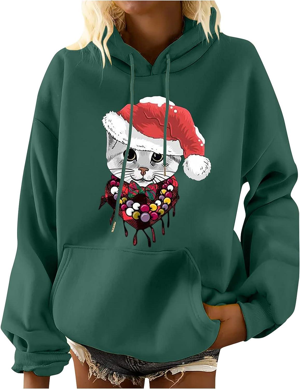 Women's Fall Winter Christmas Sweatshirts Cat Print Casual Crewneck Long Sleeve Pullover Tops Loose Fashion Shirts Green