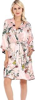 JZLPIN Women Plus Loose Satin Kimono Robe Dressing Gown Wedding Bridesmaid Bathrobe Sleepwear
