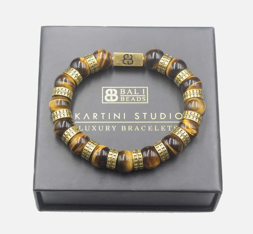 Tiger's Eye and 22 Karat Gold San Diego Mall Brace Bracelet Luxury Beads Men's Ranking TOP1