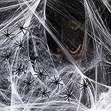 Joyjoz Halloween Décoration Toile d'araignée 2000 pieds carrés avec 60...