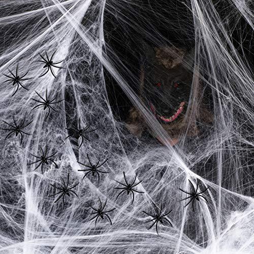 Joyjoz Halloween Decoración Tela de Araña 2000 pies Cuadrados con 60 Arañas, 2 Juegos de Telaraña, Decoraciones de accesorios de Halloween para Puerta Entrada Jardín Fiesta