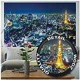 GREAT ART Mural de pared ? Tokio Ciudad Foto Mural Decoración Contorno de Tokio de noche Metrópolis Torre de Tokio Panorama Foto Japón Deco Mega ciuda