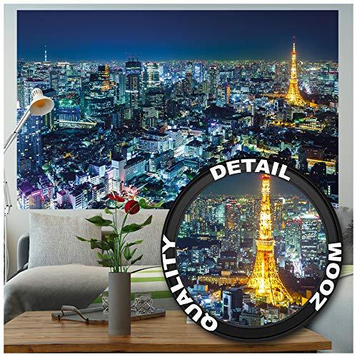 GREAT ART® XXL Póster – Tokyo City – Mural Tokyo Horizonte de Noche Metrópolis Tokio Torre Panorama Imagen Japón World City Viaje Foto y decoración (140 x 100 cm)