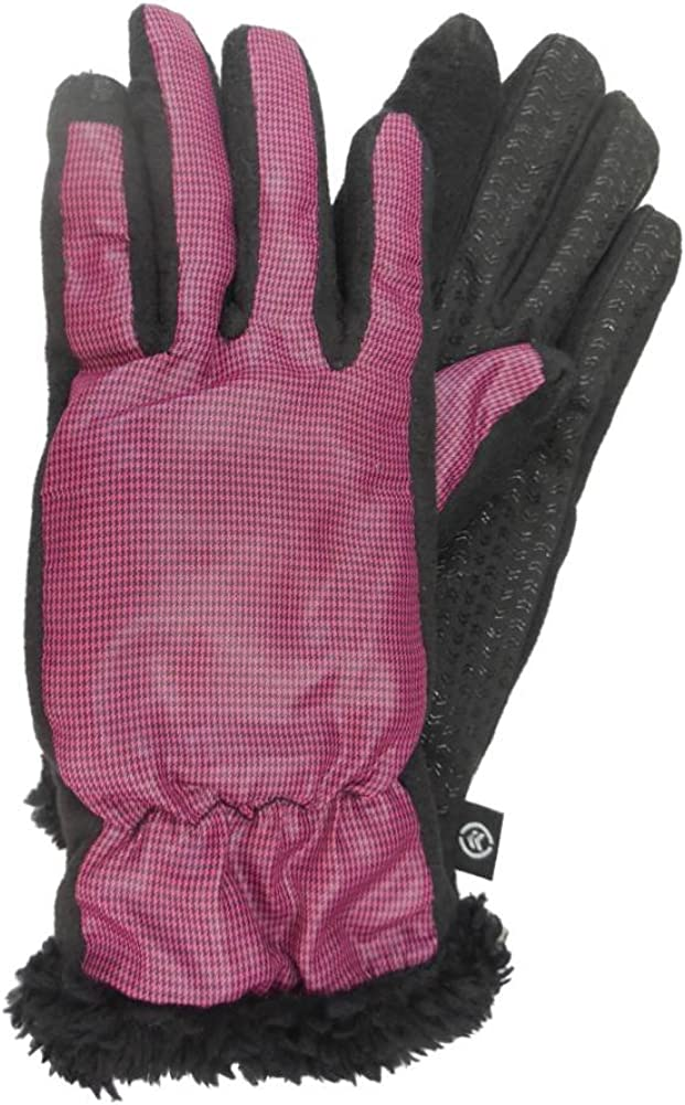 Isotoner Smart Touch Women Berry Pink Micro-Check Tech Text Glove Smartouch