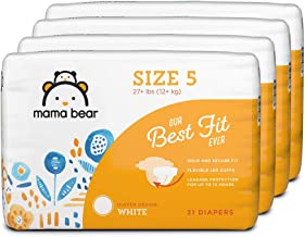 Amazon Brand - Mama Bear Best Fit Diapers Size 5, 124 Count, White Print (4 packs of 31) [Packaging May Vary]