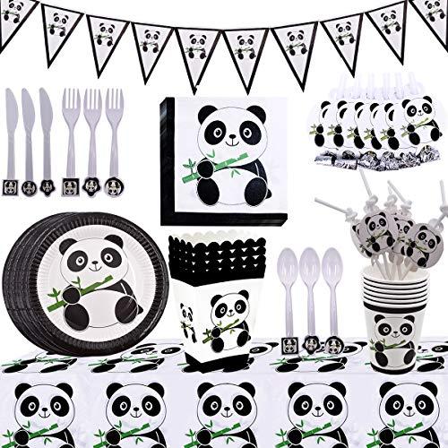 BETOY 94 Piezas Kit de Decoración de Fiesta de Panda, Fiesta de Cumpleaños Panda Decoraciones Set Vajilla de Panda Desechable Juego de Fiesta temática Panda