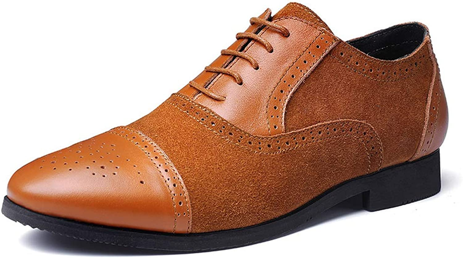 Mens Suede shoes Leather Lace Up Business Fashion Brogues Casual Tie Pointed Formal Dress Brogues