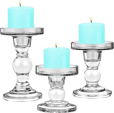 Floratek 3点セット ガラス キャンドルホルダー スタンド キャンドルスティックホルダー 燭台 雰囲気作り パーティ 記念日 結婚式 誕生日 ロマンチック 部屋飾り お祝い用品 (キャンドルホルダー)