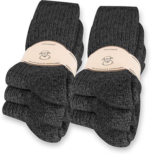 normani 6 Paar Norweger Socken mit Wolle Anthrazit, Wintersocken, Herrensocken mit Polstersohle Farbe Anthrazit Größe 39-42