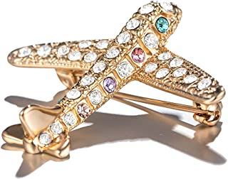 PANGRUI Exquisite Lovely Shining Crystal Gold Plane Brooch Pin Rhinestone Silver Airplane