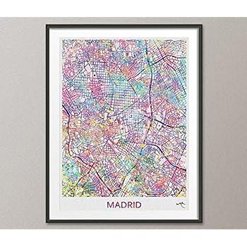Madrid mapa de la ciudad impresión Watercolor Art Print Wall Art ...