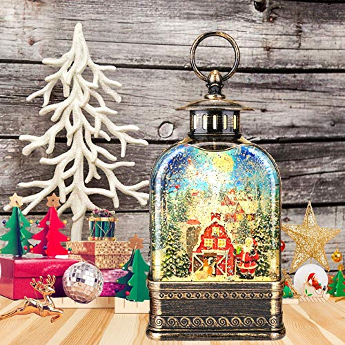 11 inch Christmas Snow Globe Water Lantern, Musical Glittering Xmas Water Globe Church Lantern with 6 Hour Timer(Santa Claus Giving gifts in Snow Village)