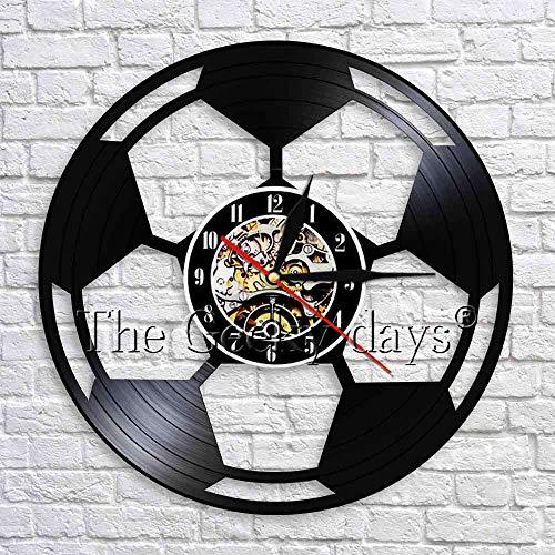 wtnhz LED-Reloj de Vinilo de fútbol Reloj de fútbol Reloj de Pared Reloj de Pared Divertido Decoración de inauguración Ideas fanáticos del fútbol