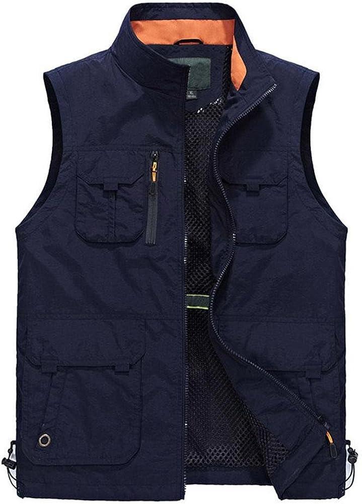 YANXH Mens Multi Pockets Vest Outdoor Leisure Photography Fishing Gilet, Dark Blue, XL