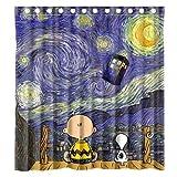 Bart671Lu Duschvorhang aus Polyester, Motiv: Snoopy mit Sternennacht, Tardis, Doctor Who, Wasserdichter Duschvorhang, Größe: 66 x 72 cm