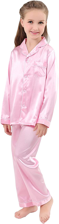 JOYTTON Kids Satin Pajamas Set PJS Long Sleeve Button-Down Sleepwear Loungewear