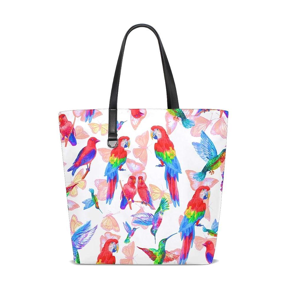 届ける粒子予備トートバッグ かばん ポリエステル+レザー インコ 蝶とオウム柄 カラー 両面使える 大容量 通勤通学 メンズ レディース