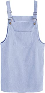 Women's Adjustable Straps Mini Corduroy Overall Dresses with Pocket