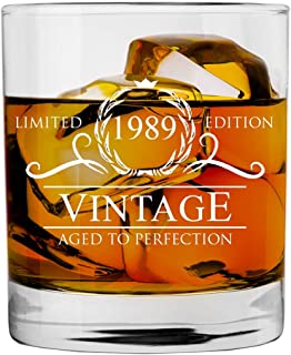 1989 30th Birthday Gifts for Women and Men Whiskey Glass | Funny Vintage 30 Year Old | Anniversary Gift Ideas Him Her Dad Mom Husband Wife | 11 oz Whisky Bourbon Glasses | Party Supplies Decorations