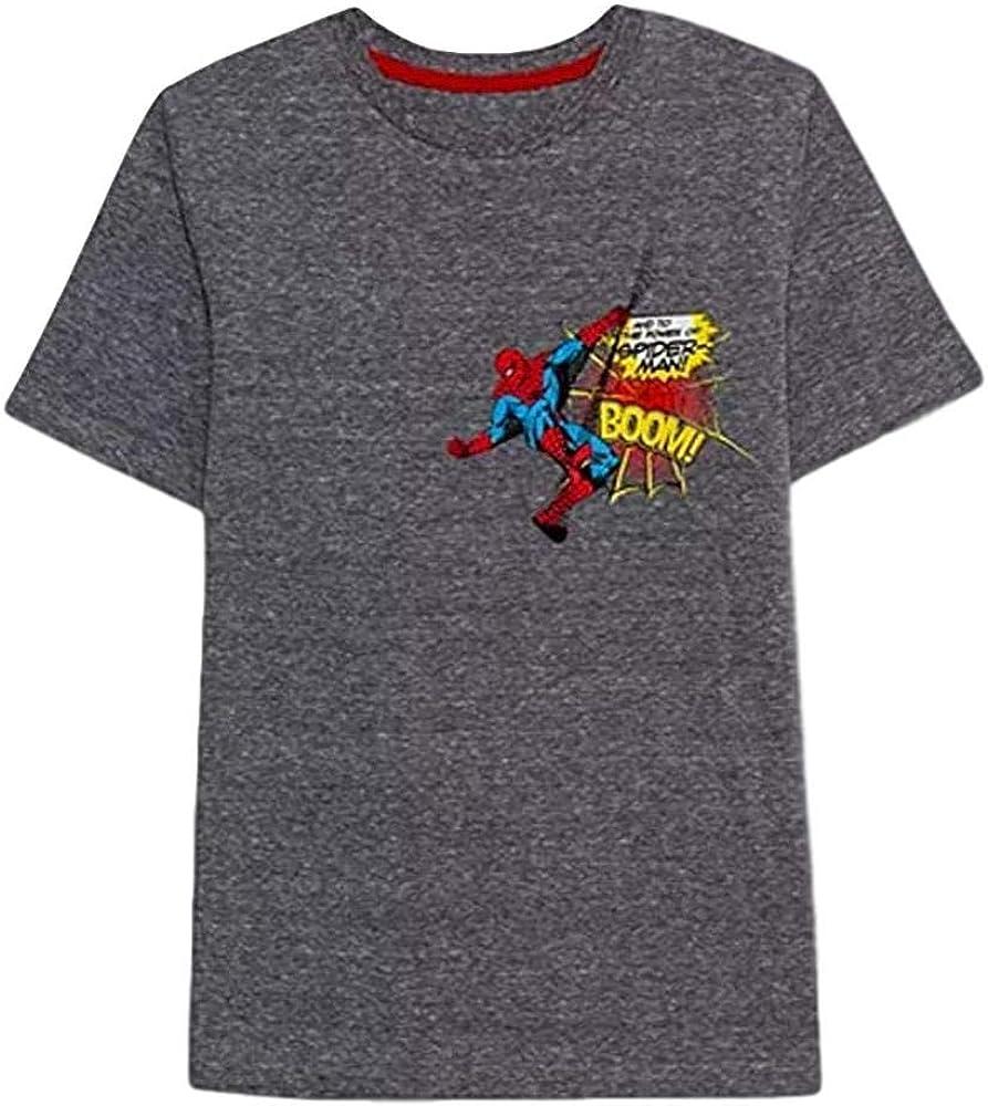 Marvel Big Boys Spiderman Boom Graphic T-Shirt (Grey, Large)