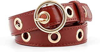 SGJFZD New Ladies Round Buckle Hollow Eye-Eye Women's Fashionable Belt Jeans Belt Simple Ladies Casual Belt (Color : Red Brown, Size : 110 * 2.4Cm)