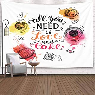 Musesh Autumn Tapestries Wall Hanging, Sweet Cakes Pastry Drawn Vintage Poster Sketch and Watercolor Advertising Banner Bakery Shop Cafe 80X60 Inches for Halloween Bedroom Living Room Decor Inhouse