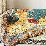 Yazi Jeté de lit avec motif carte du monde Style de Bohême Pièce murale Tapis Couvertures Pour canapé, fauteuil Pour femme, fille 130x 180cm