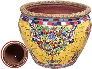Kotee Stor blomkruka keramisk växtkruka handmålade glaserade med tallrikar runt terrakotta med droppbricka blomma kruka le...