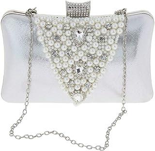 IPOTCH Silver/Gold Diamante Pearls Clutch Hand Bag Bridal Multi-purpose Purse Handbag