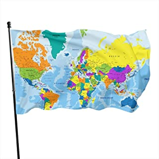 LAIUE World Map Guard Flag 3x5ft Vivid Color for Inside/Outside Use | UV Protected Guard Banner Flags