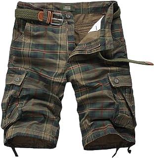 Men's Plus Size Vintage Mid Rise Plaid Twill Chino Shorts Striped Multi Pockets Cotton Cargo Shorts