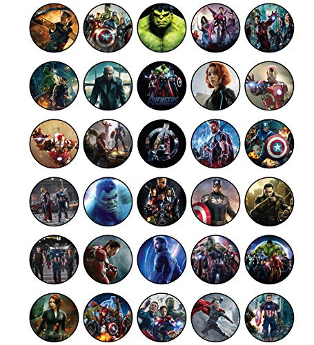 30 x Edible Cupcake Toppers - Avengers Movie Party Collection of...