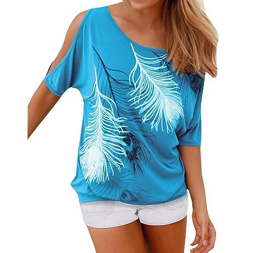 16a236a6e4ffc Lovaru Women s O Neck Feather Print Shirt Casual Cutout Sleeve Top Blouse