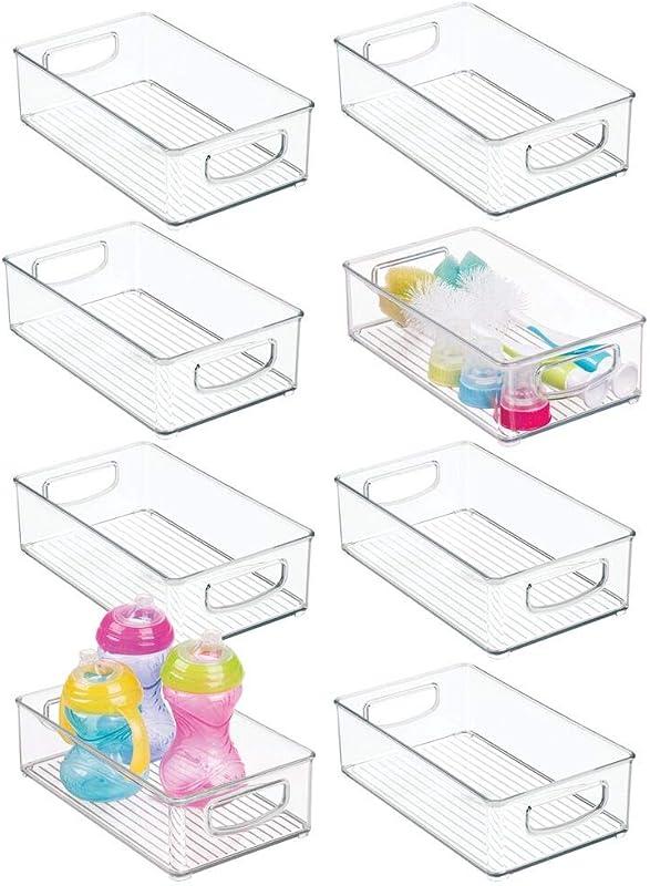 MDesign Plastic Kitchen Pantry Cabinet Refrigerator Or Freezer Food Storage Bins With Handles Organizer For Fruit Yogurt Snacks Baby Bottles Jars 8 Pack Clear
