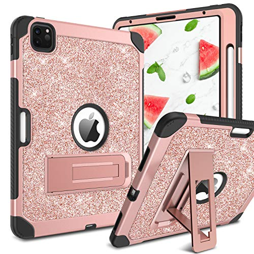 YINLAI Case for New iPad Pro 11 Inch 2nd & 1st Generation 2020/2018 Release,Glitter Bling 3 Layer Full Body Protective Kickstand Durable Rugged Shockproof Tablet Cover, Rose Gold/Pink