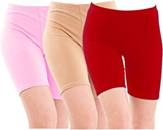 Pixie Biowashed 220 GSM Cotton Lycra Cycling Shorts for Girls/Women/Ladies Combo (Pack of 3) Baby Pink, Beige and Red - Free Size