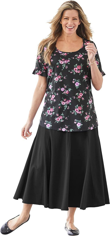 Woman Within Women's Plus Size Ruffle-Sleeve Tee Shirt