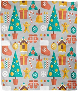 Suike Throw Blanket 60x80 Inches Luxury Flannel Christmas Trees Gifts Merry Flat Ornaments and Other Elements Microfiber Print Soft Cozy Warm Wrinkle Resistant Couch Bed Throws Sofa