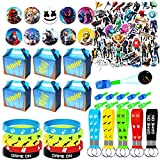 NEZUKO Game Party Supplies for Kids, 100 Pcs Party Favors - Gift Box, Bracelet, Key Chain, Button Pins, Stickers, Finger Light for Kids Themed Party